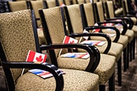 Chairs with Canadian flag for immigration